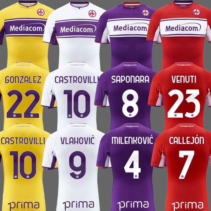 2021 2022 Fiorentina Camisas de futebol Castrovilli Ribery Callejon Príncipe Gonzalez 21 22 Fiorentina Camisas de Futebol Vlahovic Maillot De Pé