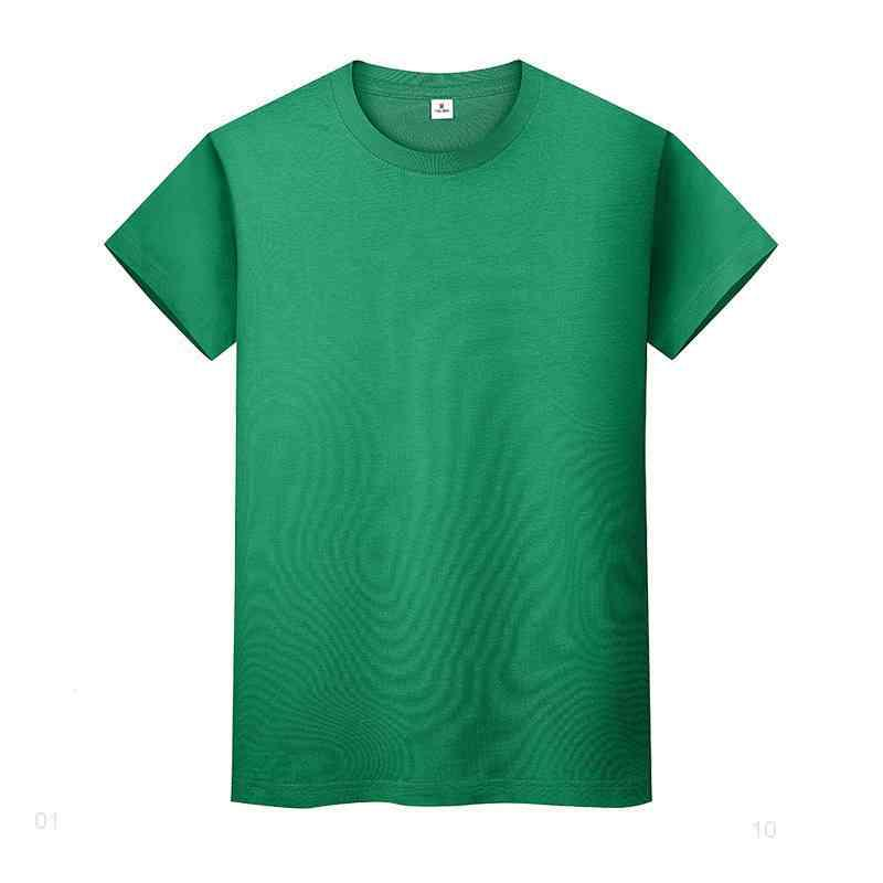 T-shirt de couleur solide ronde en coton à manches courtes à manches courtes et à manches longues