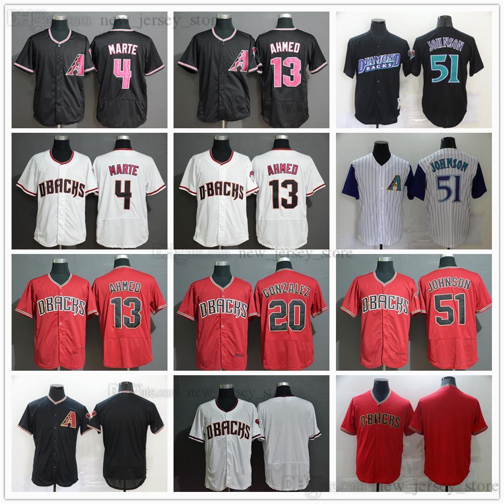2021 Noticias 13 Nick Ahmed Baseball Jerseys cosido 51 Randy Johnson 20 Luis González 4 Starling Marte Red White Black Jersey