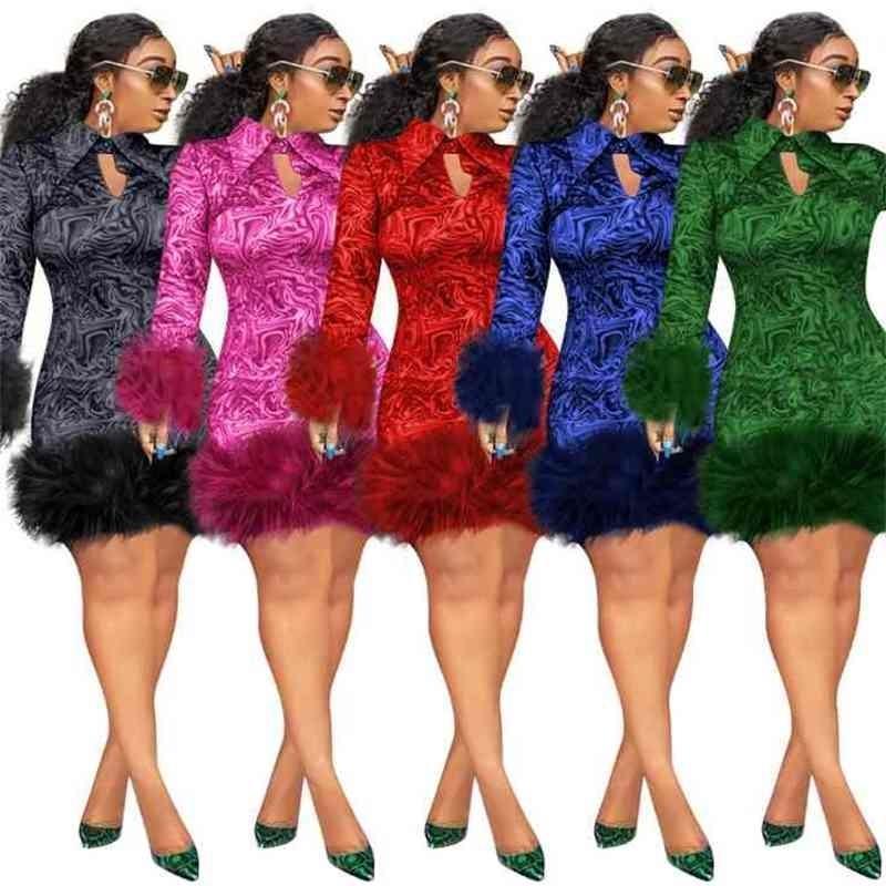 Tüy Kış Elbiseler Kadınlar Vintage Baskı Bodycon Afrika Bayanlar Uzun Kollu Parti Elbise Mini Seksi Kulübü Siyah Artı Boyutu 2XL 3XL 201102