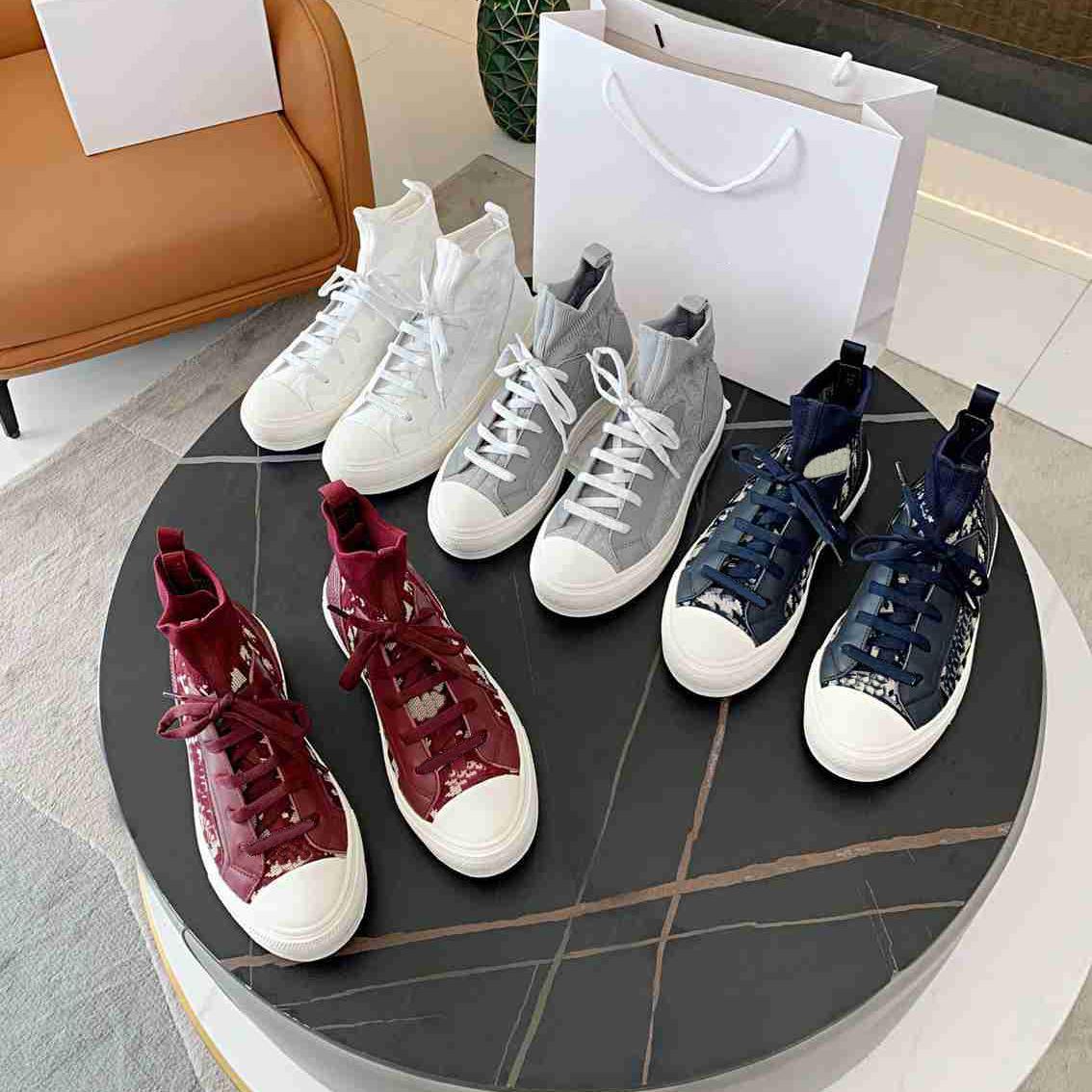 Дизайнерские кроссовки наклонные холст обувь Высокое шоу кроссовки растягивающие носки кожаные женщины повседневная высокое качество роскоши тренеров размером 35-41