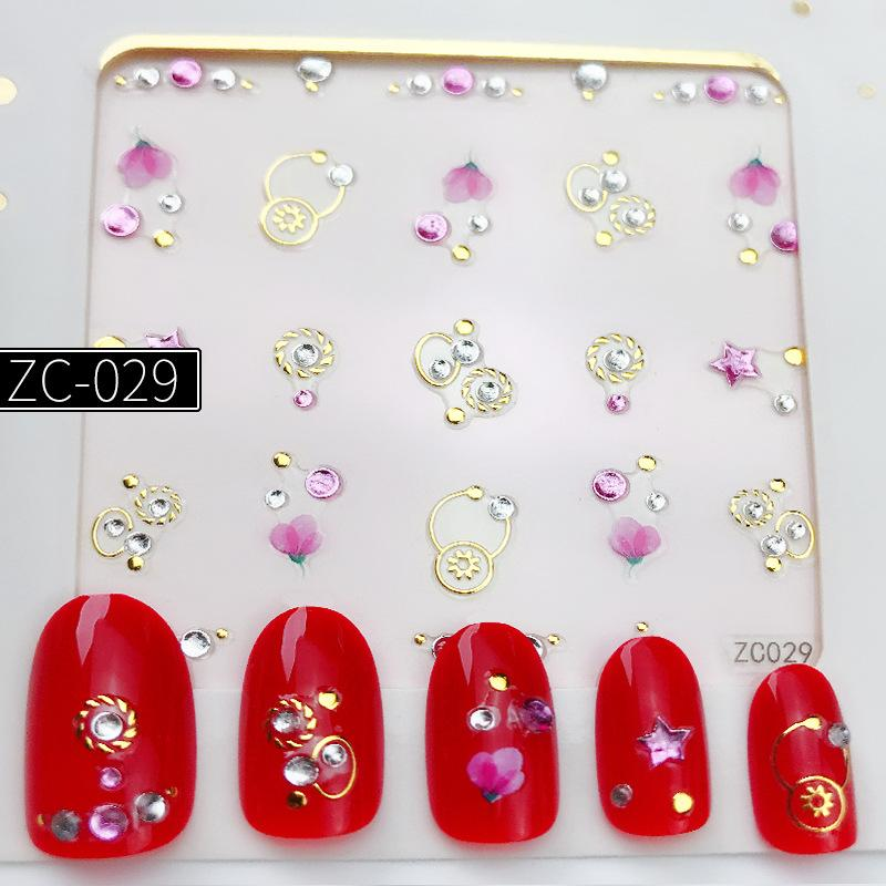 1 Sheet Self Adhesive Lace Design Nail Sticker Creative Salon Nail Art Jewelry 3D Rhinestone Nails Decoration Nails Manicure