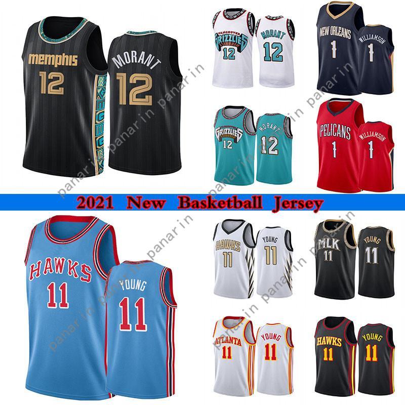 Ja 12 Morant Men Jerseys de Basquete de Alta Qualidade Zion 1 Williamson 11 Jovem Colégio Jersey 2021 Vestuário ao ar livre