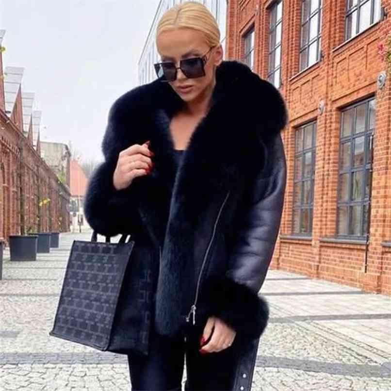 Manteaux de fourrure réelle d'hiver Femmes naturelles Femmes de haute qualité Veste en cuir véritable avec gros collier de brouillard de la fourrure 210910