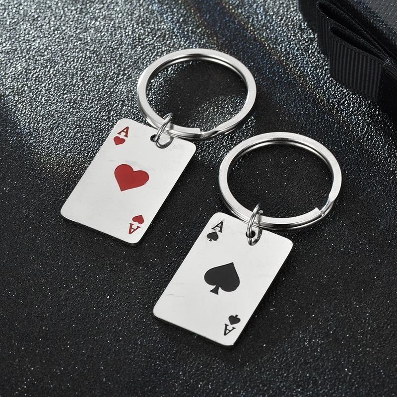 Keychains Keychain Mann Spielkarte Schlüsselanhänger Frauen Liebhaber Ring Für Hosen Kinder Anhänger Hohe Qualität Halter Mode Brelok
