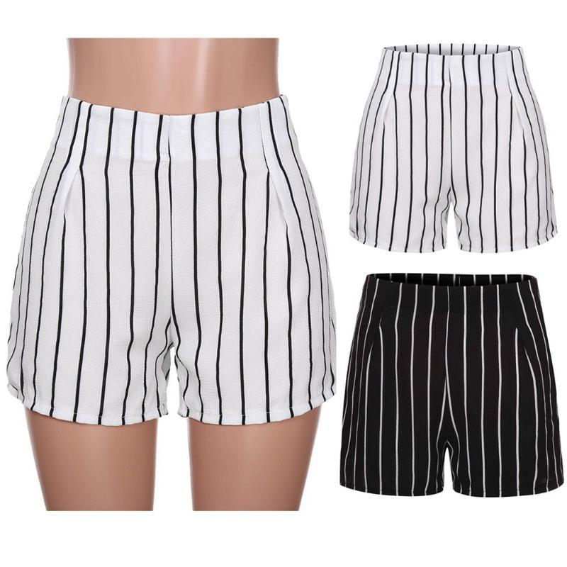 Women Summer Shorts Casual Daily Lady Solid High Waist Stripe Short Trousers Sweatpants Print 2021 Women's