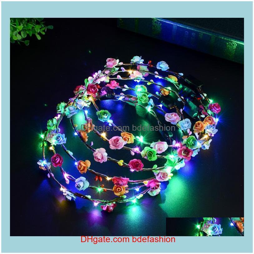 Otras AessiesFlashing LED Hairbands Strings Glow Flower Crown Deedbands Light Party Rave Floral Hair Garland Luminoso Guirnalda Moda Aesso
