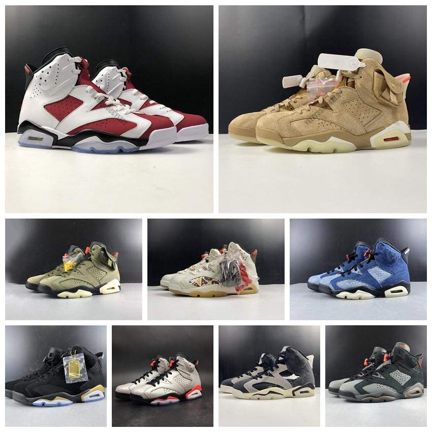 6s sapatos de basquete ts britânico cáqui oliva carmim fumaça cinza Quai 54 lebre og jumpman reflexivo mens alto esporte sneakers treinadores DH0690-200 7-13