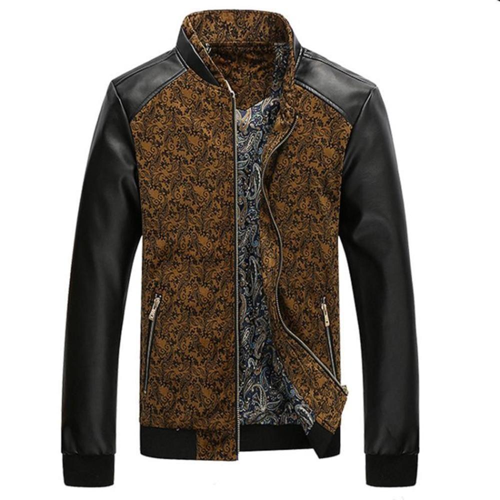 Мужские искусственные кожаные пэчворки куртки плюс плюс размер осень мода пальто верхней одежды стойку воротник мужская одежда стройная