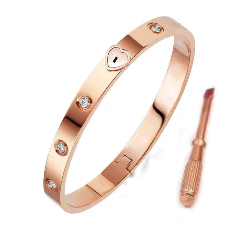패션 Womens 쥬얼리 골드 18K 스테인레스 스틸 팔찌 다이아몬드 럭셔리 사랑의 실버 팔찌 원래 상자 결혼 선물