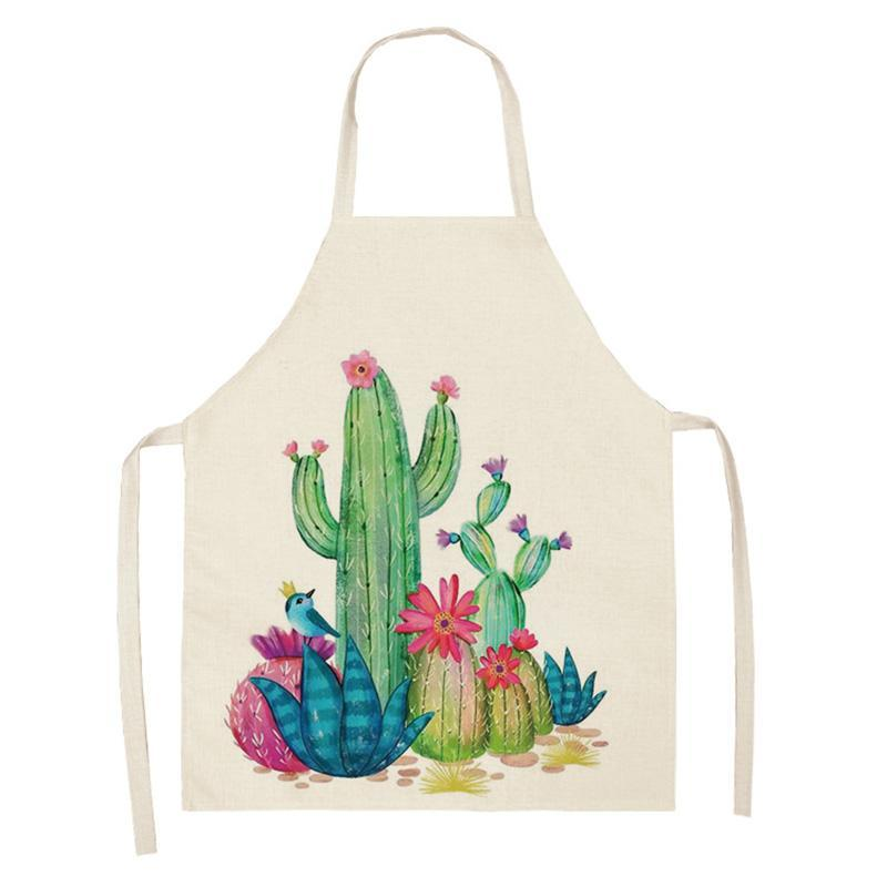 Aprons Cactus Women Kitchen Apron Cotton Linen Prickly Pear Sleeveless Chef Cooking Accessories 68*55cm 0090