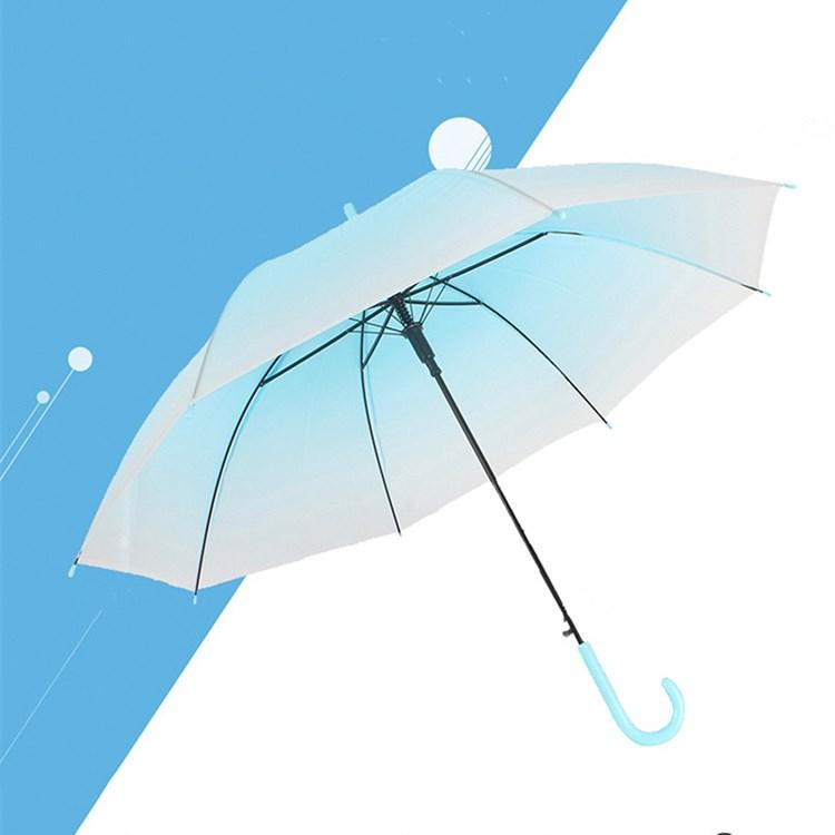 Long handle semi-automatic gradient umbrella creative transparent boys and girls Korean version small fresh net red Handle Umbrellas T2I52005