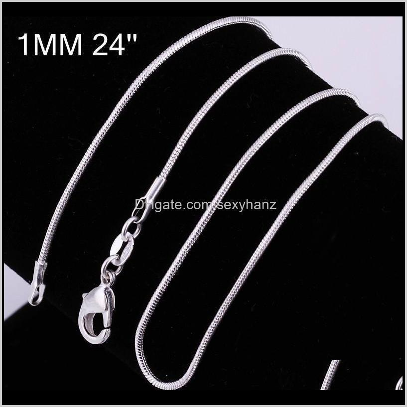 100Pcs 925 Sier P Smooth Chains Necklace 1Mm Snake Chain Mixed Size 16 18 20 22 24 Inch 2Zr6T Nqao2
