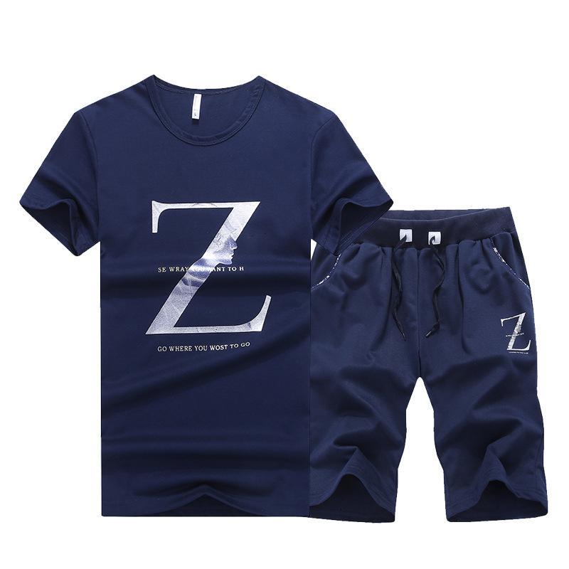 TrackSummer T-shirt à manches courtes T-shirt Short Tendance de loisirs Tendance de deux pièces