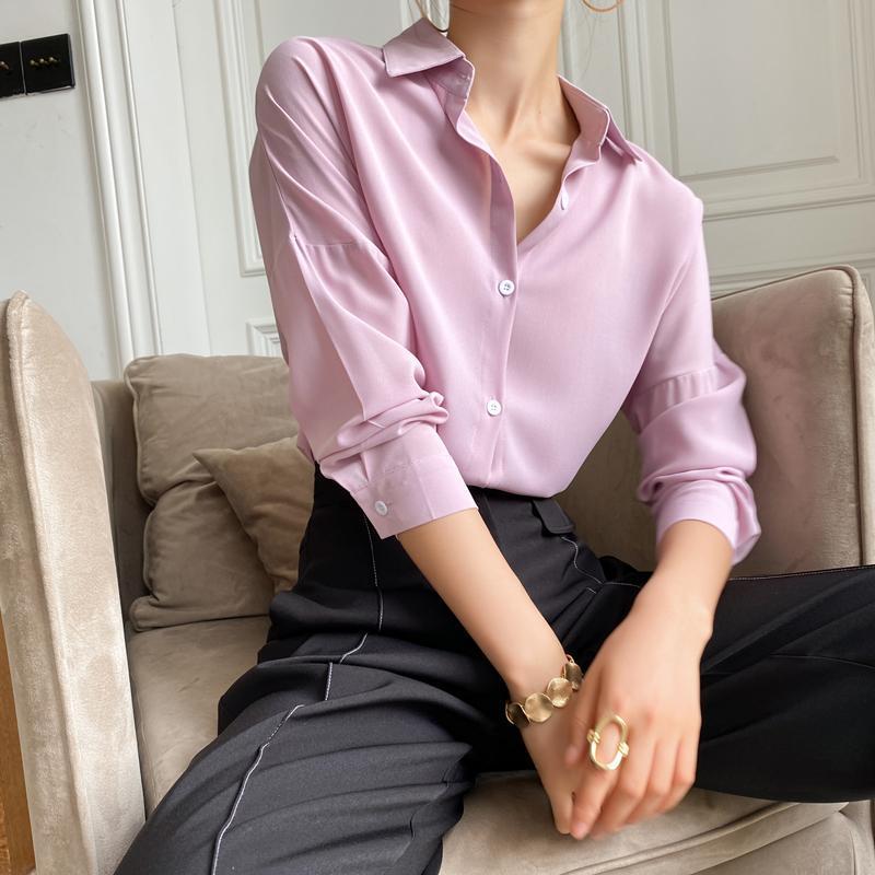 Vintage Chic Chiffon Langarm Frauen Blusen Lose Abzugskragen Casual Office Bluse Weibliche 2021 Frühling Minimalistische Hemd Frauen Shi