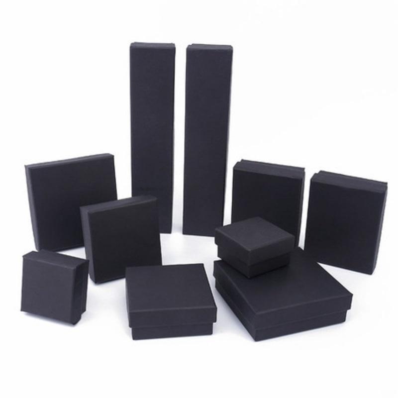 Caja de organizador de joyería cuadrada / rectángulo para pendientes Collar Pulsera Pantalla de regalo Caja de regalo Packaging Cajas de cartón negro 922 Q2
