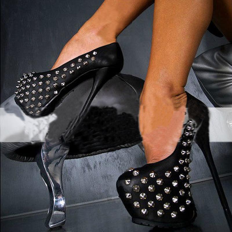 Robe chaussures punk sexy haute plate-forme femme super talons rivets de métaux de métaux clubs clubs clubs club de nuit 16 cm pompes de scène