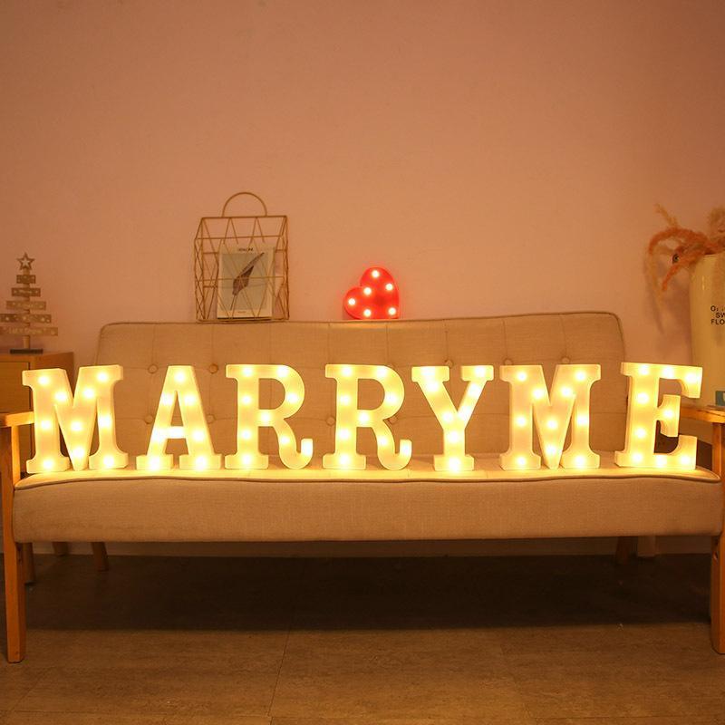 Gece Işıkları Led Mektubu Kalp Sembolü Işareti Işık Noel için Sevgililer Günü Düğün Masası Ev Dekorasyon benimle evlenmek