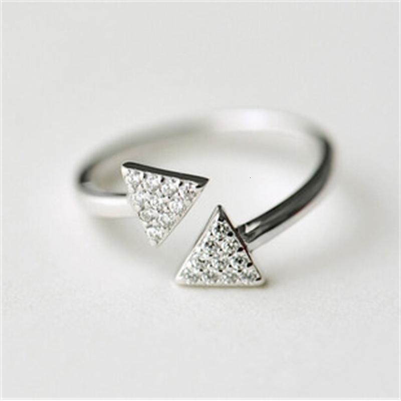 925 sterling silver aperto doppio triangolo diamante anello diamante coreano gioielli in argento sterling