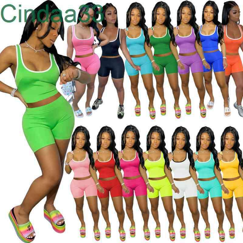 Women Tracksuits Two Pieces Set Designer Outfits Slim Sexy Sleeveless Sports Suits Solid Color Vest Shorts Set 15 Colors Sportwear