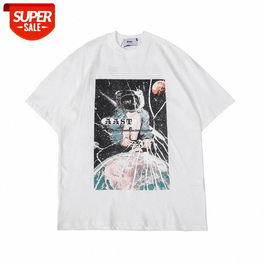 문자 인쇄 반팔 티셔츠 남성용 ins 유럽 및 미국의 조수 브랜드 라운드 목 반팔 여름 거리 트렌드 느슨한 COM # QB2B