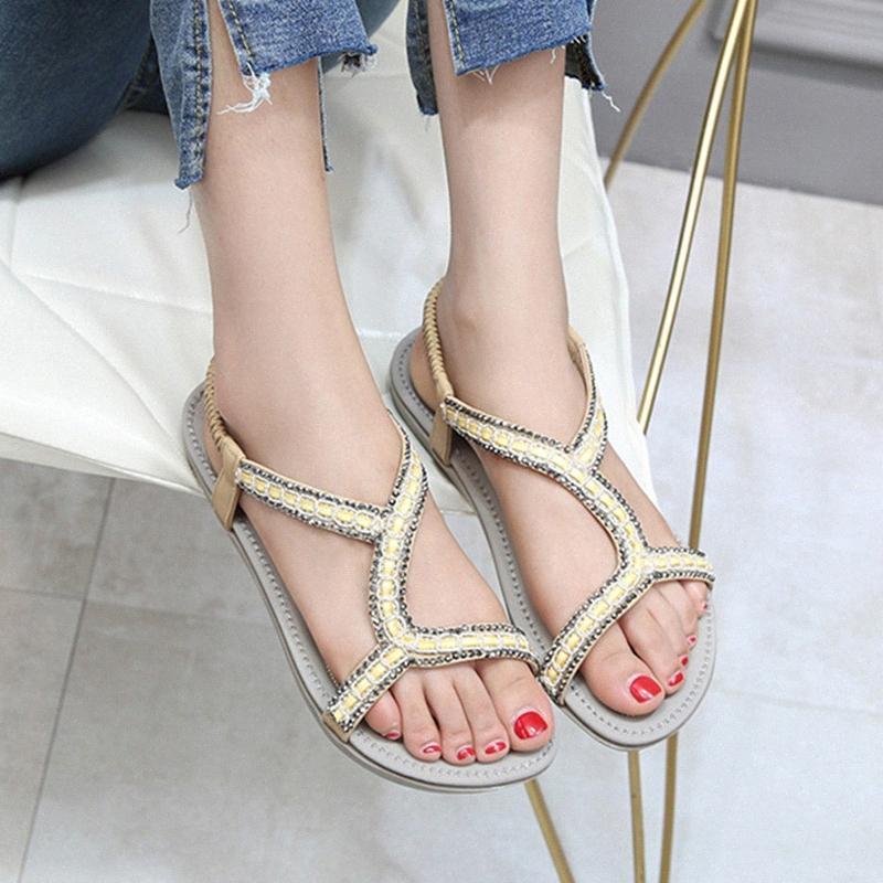 2020 New Shoes Mulher verão plana praia sandálias casuais Open Toe Ankle Cristal Gladiador Sandálias Moda Andar Sapatos Mulher 39zi #
