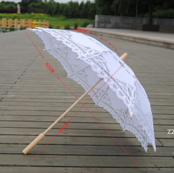 Feste Farbe Party Spitze Regenschirm Sonnenschirme Sun Baumwolle Stickerei Braut Hochzeit Regenschirme Weiße Farben Verfügbare Meeresversand HWA8102