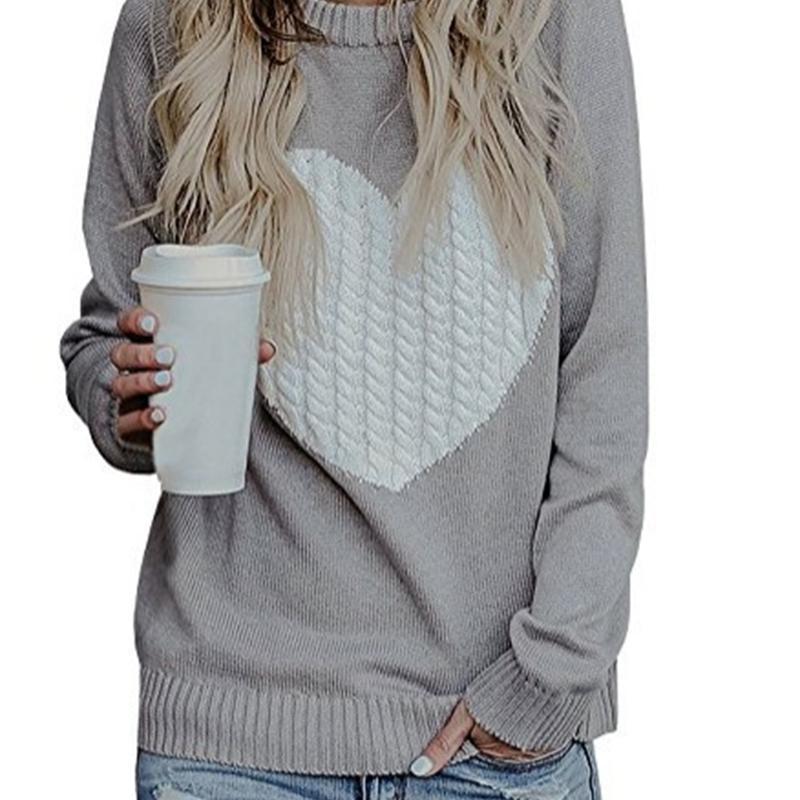 2021 women's long sleeve T-shirt love sweater bottom coat