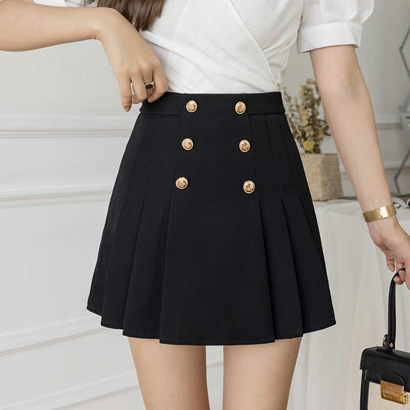 Skirts Office Lady Summer Pleated Women Korean High Waist Streetwear Mini Zipper Shorts Double Breasted Slim Z373 I2H1