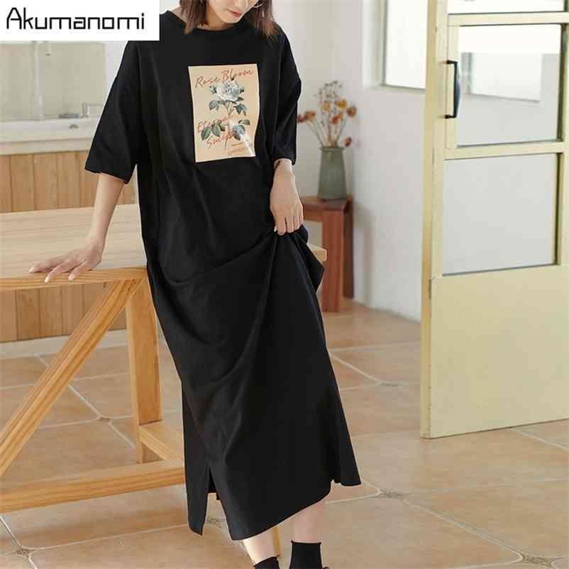 Tops de algodón Tallas grandes 7XL 6XL 5XL 4 XXXL Negro Maxi Camiseta Vestido Mujeres Vintage Vintage Recto Casual Doble Doble Vestidos 210409
