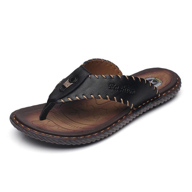 Quaoar marke sommer männer hausschuhe männlich echtes leder flip flops für mann vintage beiläufige strand sandalen nicht schieben zapatos schuhe