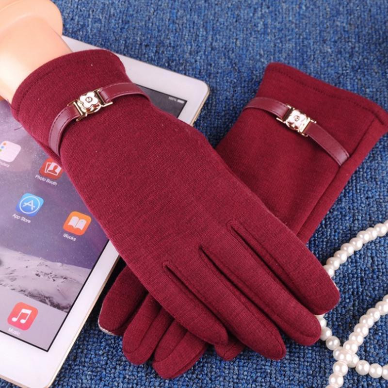 Fashion Elegante Donne Touch Screen Screen Guanti inverno caldi guanti da polso per guidare all'aperto inquinamento solido cashmere pieno dita cinque dita