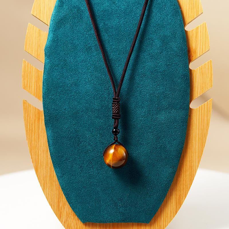 الأزياء الطبيعة النمر حجر الحجر قلادة للنساء الطبيعي مطرز اليدوية الصلاة المعلقات القلائد الرجال حبل سلسلة سحر مجوهرات قلادة