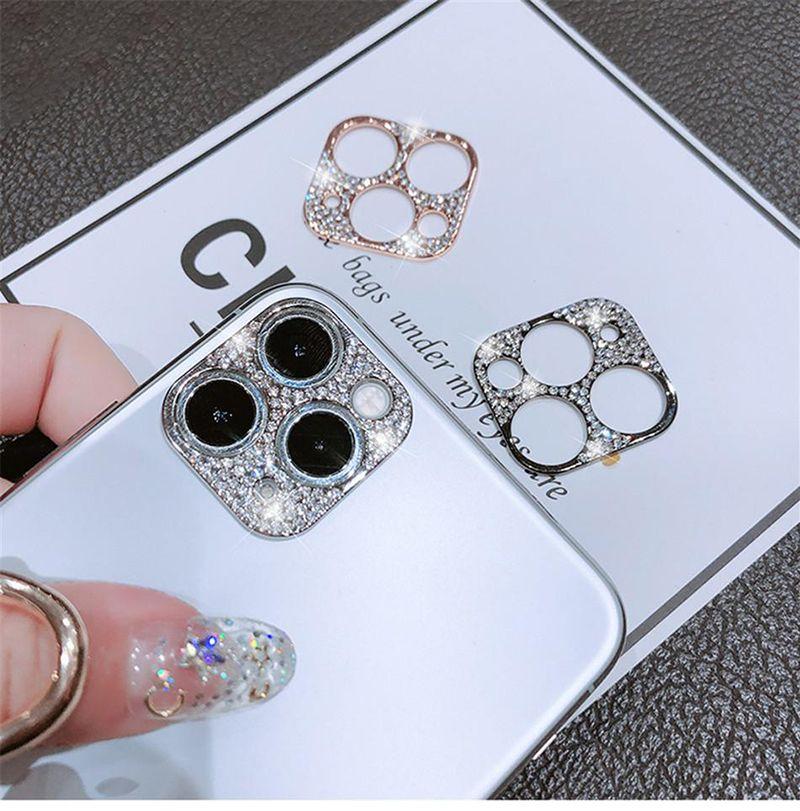 Cubierta protectora de la lente de la cámara Gliter Fundas para teléfono para iPhone 11 12 Pro Max Metal Frame Diamond Skillers Protectores MQ100