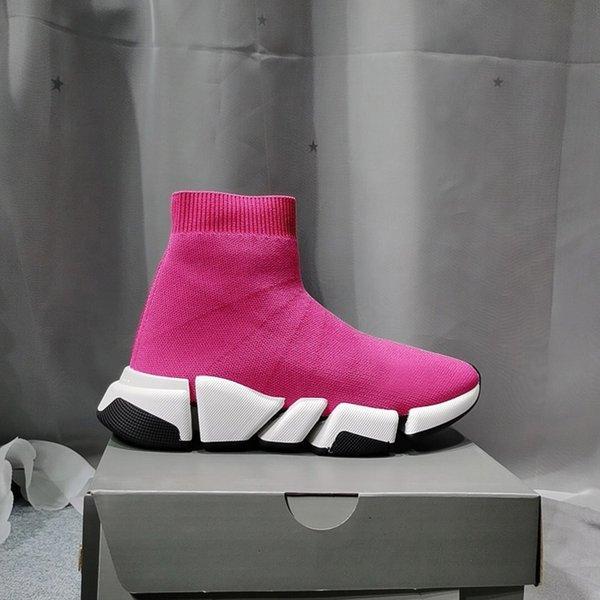 [Kutu ile] 2021 Tasarımcı Çorap Spor Ayakkabı Erkek Hız 1.0 Eğitmenler Lüks Kadın Erkek Koşucular Eğitmen Sneakers Çorap 2 Çizmeler Platformu Boyutu 36-45 03