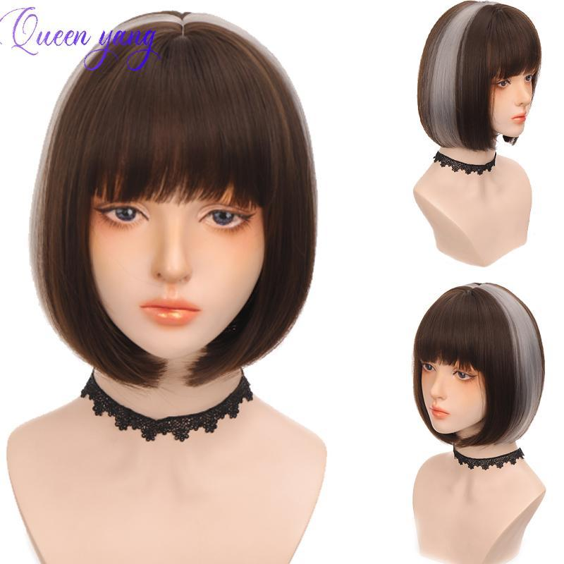 Synthetic Wigs QUEENYANG Short BoBo Head Black Plus Gray Highlighting Wig On Both Sides With Bangs Daily Use Party