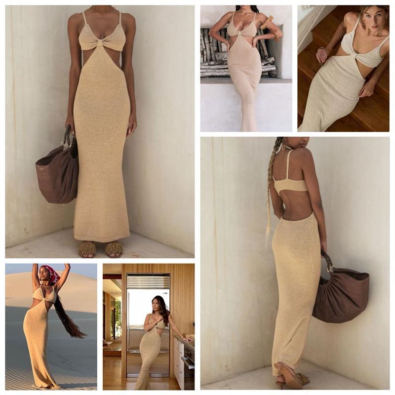 2021 Yeni Sıcak Elbise Backless Bandaj Backless Kesim Askı Etek Kolsuz Parti Beachwear Uzun Elbiseler Katı Bodycon Seksi Sling Maxi