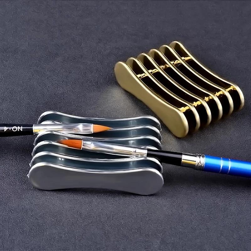 1 قطع الذهب والفضة 5grids مسمار الفن القلم حامل حامل الأظافر صالون الجمال uv gel فرشاة الراحة عرض أدوات مانيكير التخزين