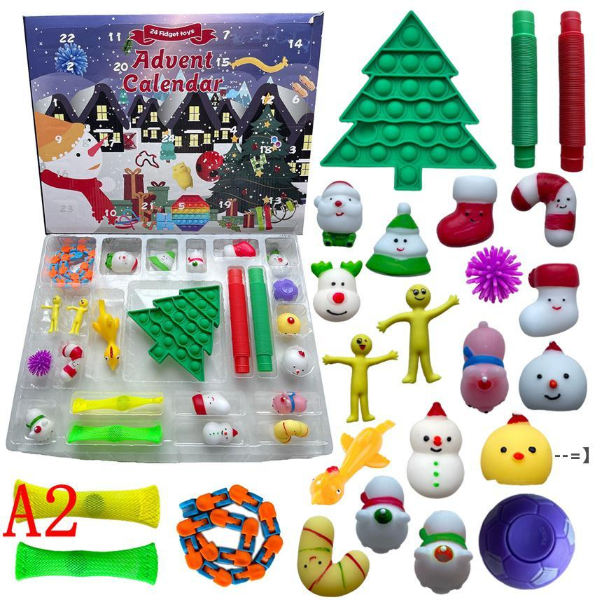 24 días Christmas Fidget Toy Advent Calendar Set Diciembre Push Bubble 24pcs / Set Silicone Stress Reliever Sensory Toys por mar HHE9329