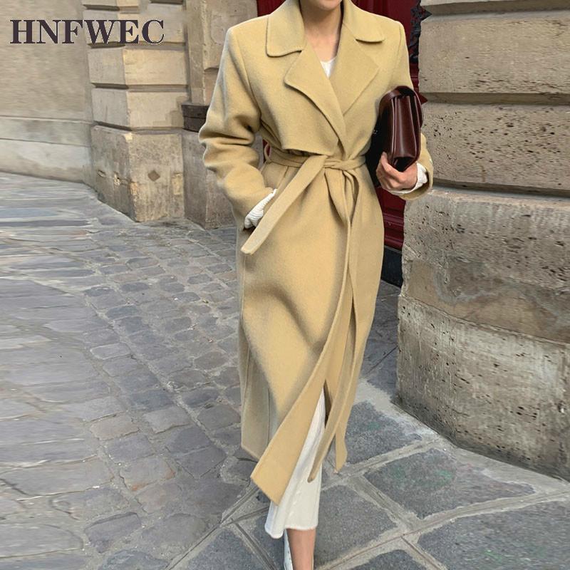Nuovo 2021 Autunno Inverno Blazer da donna Blazer Tasche Giacche Elegante Vintage Oversize Lace Up Lana Lady Long Tops V805