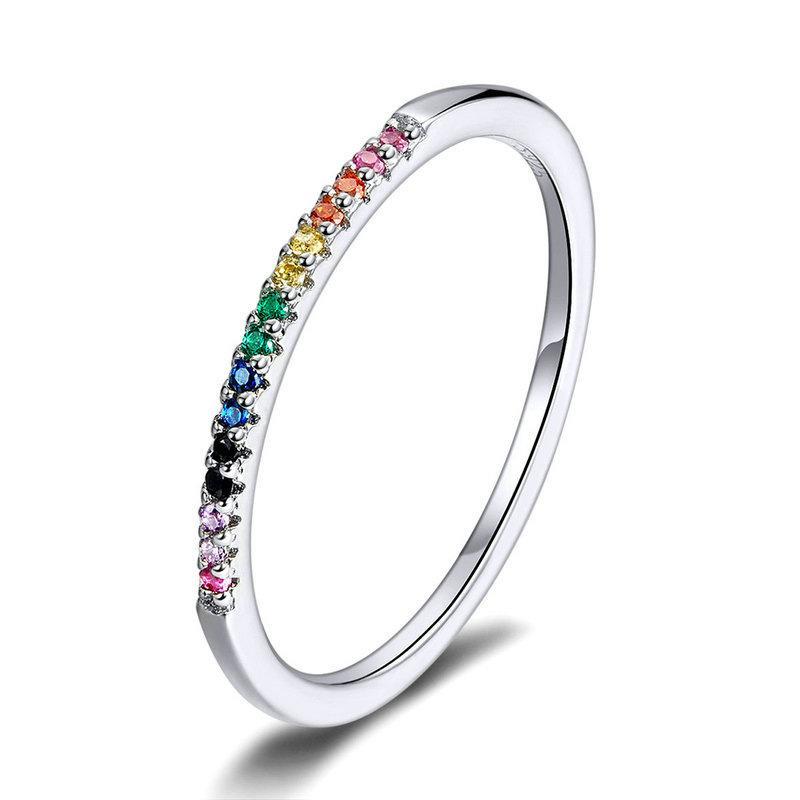 Bamoer Rainbow Color CZ Anelli dito per le donne Impilabili dichiarazione di nozze autentica argento sterling 925 gioielli 1772 v2
