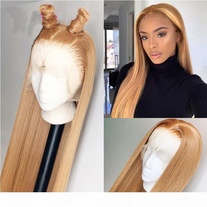 Peruk Uzun Koyu Sarışın İpeksi Düz Dantel Ön Doğal Saç Çizgisi Kadınlar Için Şeffaf Peruk Ücretsiz Bölüm İnsan Saç