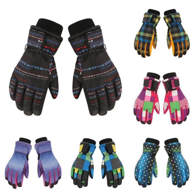 Fingerless Gloves Boys Girls Outdoor Winter Warm Thicken Print Waterproof Glove Children Kids Mittens Windproof Snow Ski Full Finger