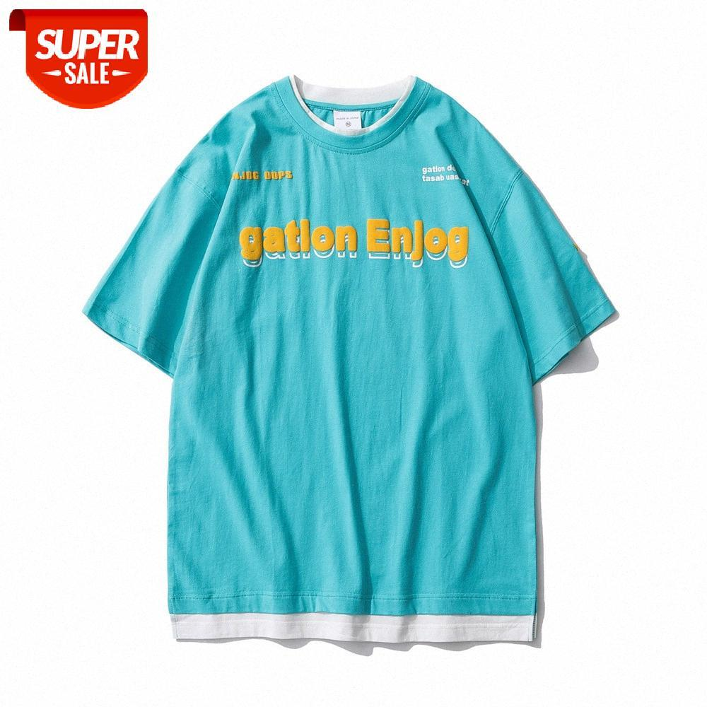 Gefälschte zweiteilige Briefdruck Kurzarm T-Shirt Herren Ins Tide Marke Kontrast Nähte Rundhals Halbärmelige Sommer Trendy com # Fu8b
