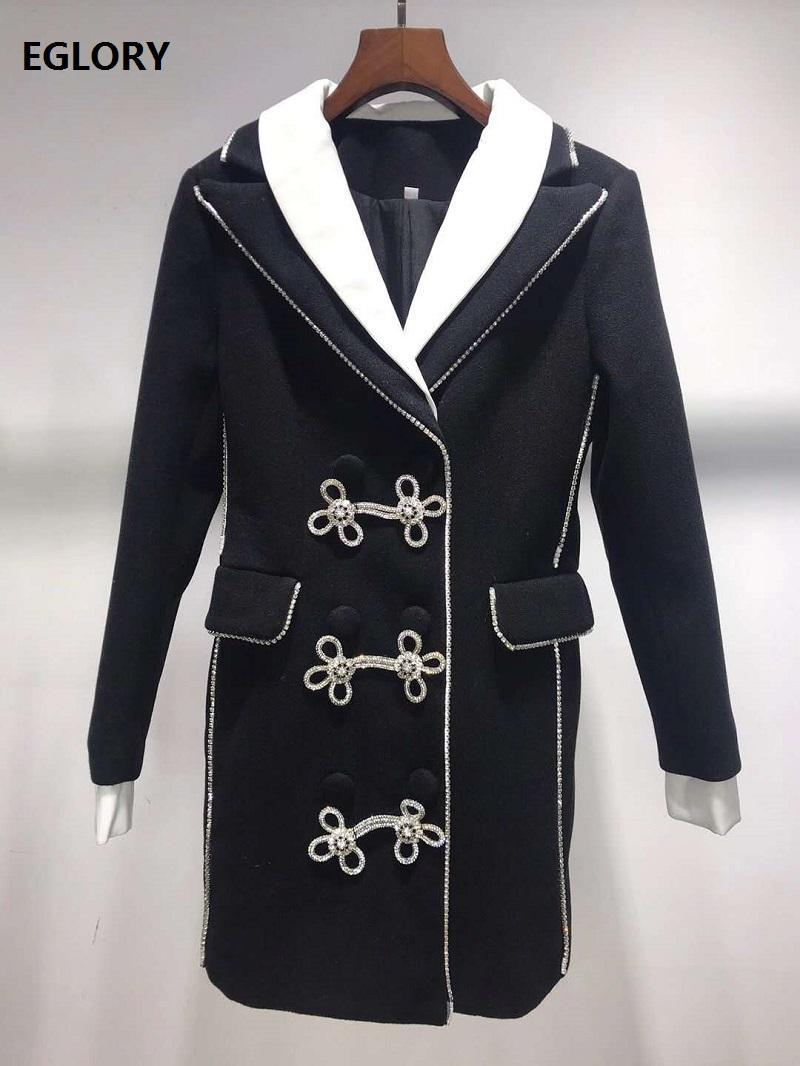 Women's Jackets 2021 Autumn Winter Fashion Designer Coat Women Notched Collar Crystal Beading Buttons Deco Black White Color Block Outwear