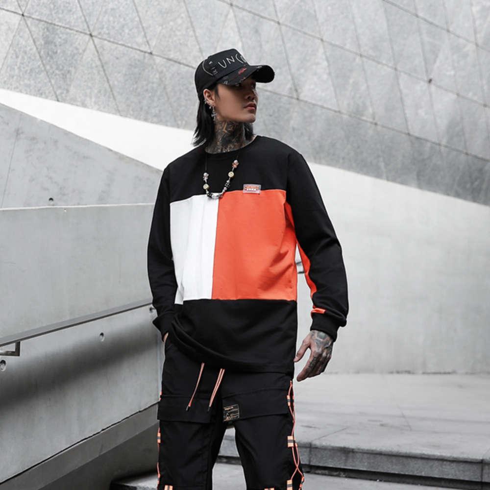 Ставка! Хараджуку, Джерси, Мужская толстовка, хип-хоп, весна, неформальная мода, длинные рукава, узкие рубашки, уличная одежда