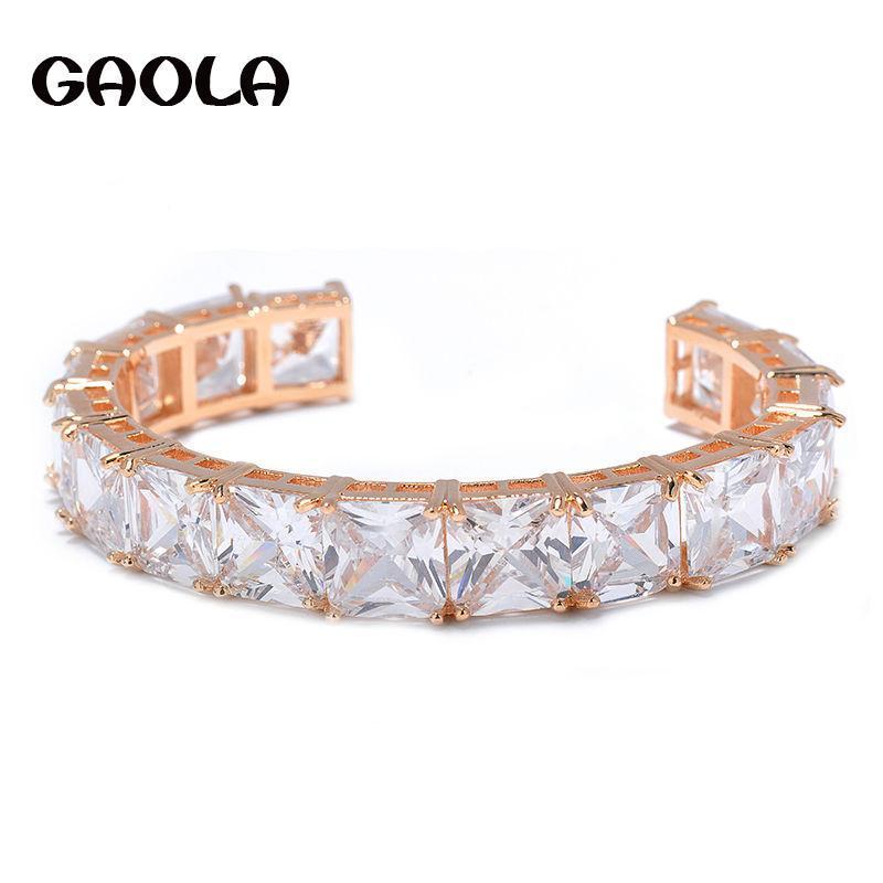 En Kaliteli Marka Takı Trendy Stil Altın Renk Büyük Kare CZ Kristal Bilezikler Şarj Parti Hediye GLS0565 Link, Zincir