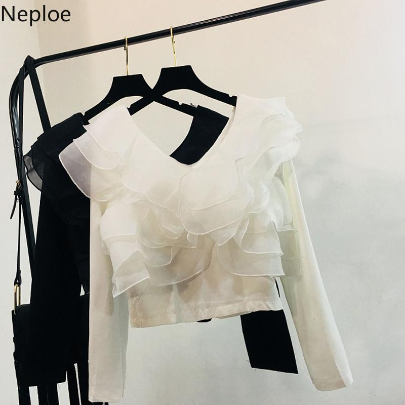 Neploe Spring 2019 New Fashion Women Tops Casual Ruffles Patchwork Slash Neck Blousa Sweet Loose Long Sleeve Blouse 43040