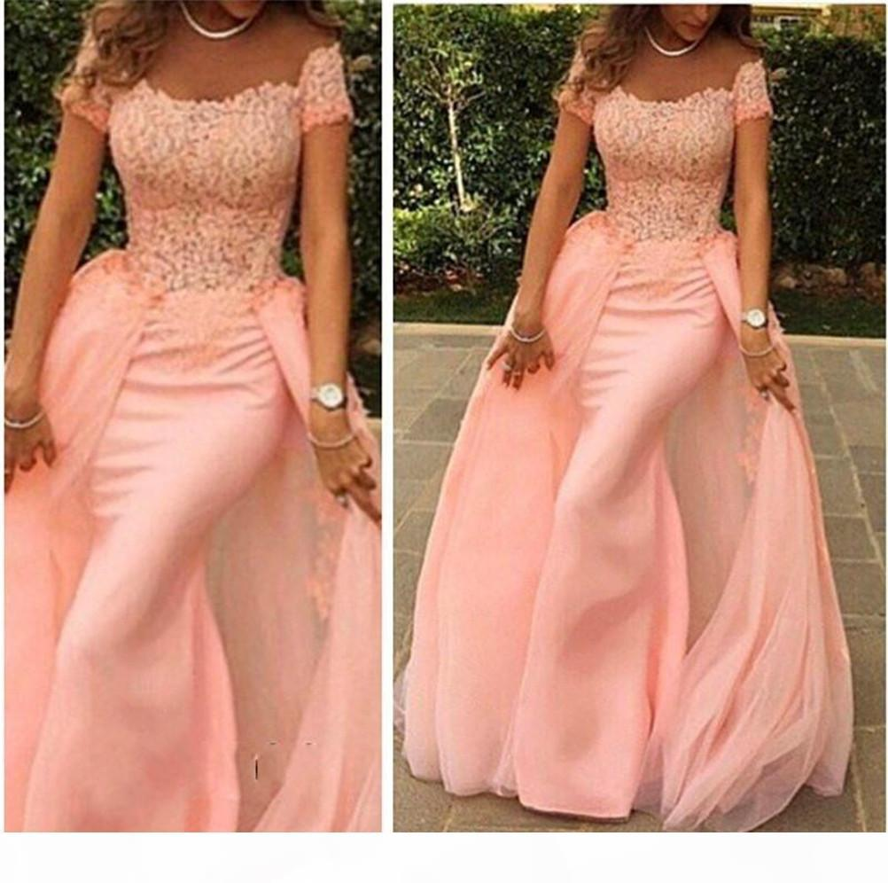 Modern Off-the-shoulder Mermaid Tulle Evening Dress Floor-length Lace Applique Short Sleeves Peach Prom Dress robe de bal princesse