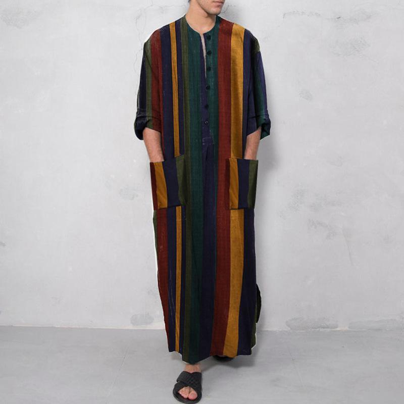 Kleidung männer djellaba mann muslim marokkaner mit kapuze design islamische baumwolle und leinen gestreifte robe jubba thatobe männer casual shirts
